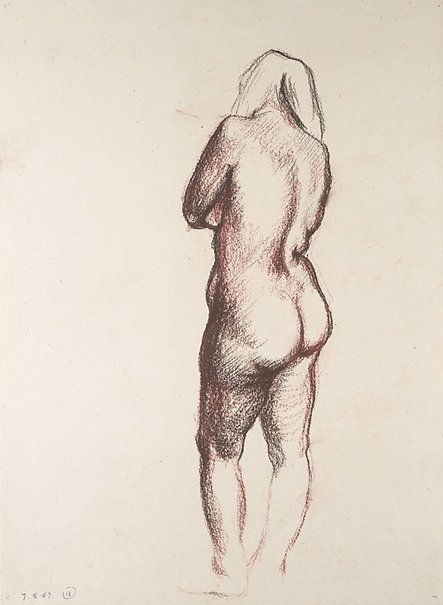 An image of Studies of the nude (Standing female nude, back) by James Gleeson