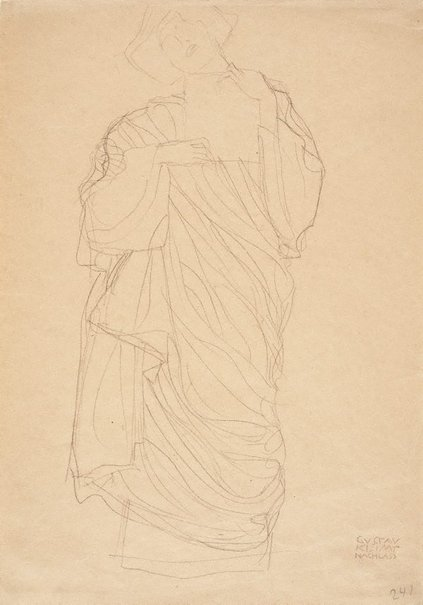 An image of Standing robed woman holding tablet (Study for Jurisprudence) by Gustav Klimt