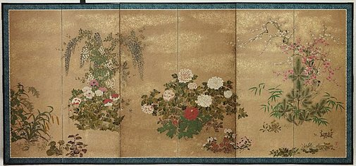 An image of Flowers of the four seasons by Rinpa school
