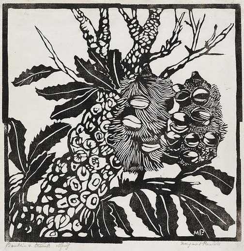 An image of Banksia and trunk by Margaret Preston