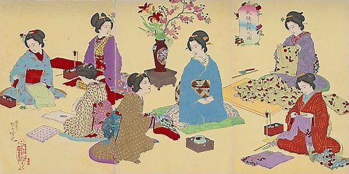 An image of Sewing lesson by Adachi/Shôsai GINKÔ