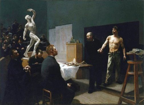 An image of The anatomy class at the Ecole des Beaux Arts by François Sallé