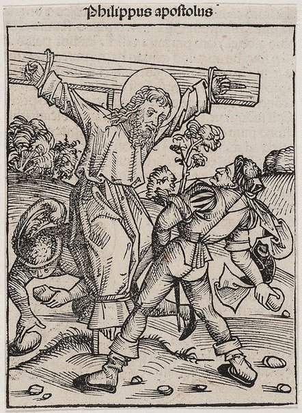 An image of The crucifixion and stoning of St. Phillip by Michael Wolgemut, Wilhelm Pleydenwurff