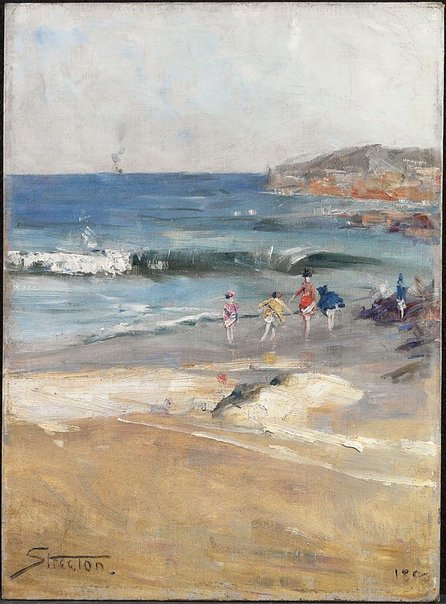 An image of Beach scene by Arthur Streeton
