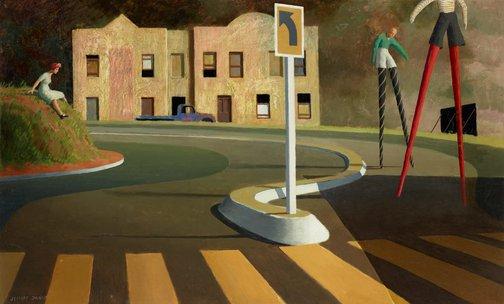 An image of The stilt race by Jeffrey Smart